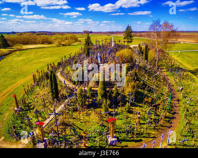 Siauliai region, Lithuania: aerial above view of Hill of Crosses, Kryziu Kalnas. It is a famous religious site of - Stock Photo