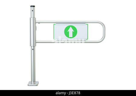 Shop entrance gate, supermarket security gate. 3D rendering  isolated on white background - Stock Photo