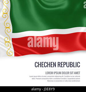 Russian state Chechen Republic flag waving on an isolated white background. State name and the text area for your - Stock Photo