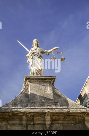 Statue of Lady Justice at Dublin Castle in Dublin, - Stock Photo