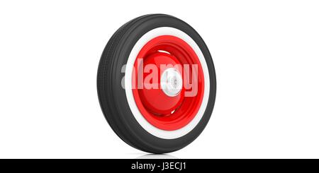 vintage car tyre isolated on white background 3d stock photo