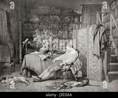 Linnaeus at home asleep in a chair after returning from one of his botanical excursions.  Carl Linnaeus, 1707 – - Stock Photo