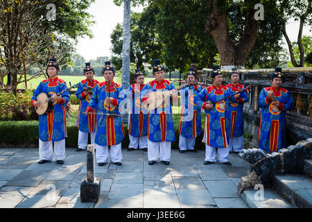 Hoi An, Vietnam - march 10 2017: vietnamese traditional music band is giving concert in Imperial Citadel - Stock Photo