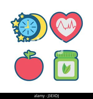 fruits, chronometer, healthy pills and heartbeat icons - Stock Photo