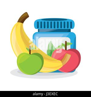 healthy pills treatment and delicious fruits - Stock Photo