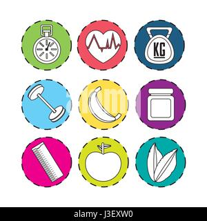 sticker healthy lifestyle icons design - Stock Photo