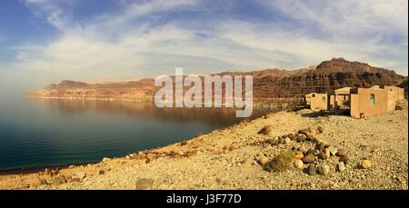 Dead sea panorma at the Wadi Mujib chalets in Jordan, Middle East - Stock Photo