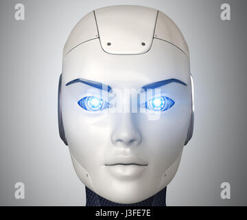 Robot's head close up,3D illustration - Stock Photo