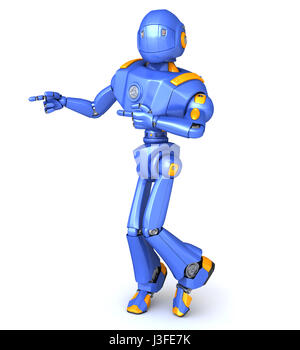Cute robot character pointing something - Stock Photo
