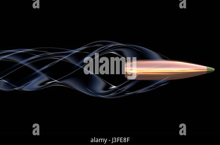 Flying bullet with air trail. 3D illustration - Stock Photo