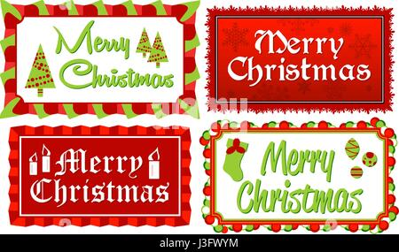 Merry Christmas-Set of four Merry Christmas typographic banners in red and green framed with stylized borders - Stock Photo