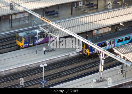 Leeds, England - June 28, 2015: Old Class 144 Pacer and Class 150 Sprinter diesel multiple unit trains at Leeds - Stock Photo