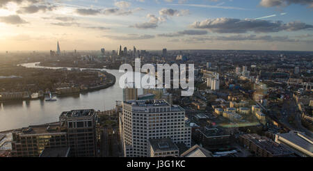 Looking west over the city of London from Canary Wharf in the Docklands district. - Stock Photo