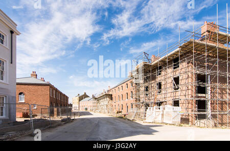 Dorchester, England, UK - May 7, 2016 - Streets of new houses under construction in Poundbury, Prince Charles's - Stock Photo