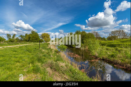 A view of the countryside at Paddington Meadows in Warrington - Stock Photo