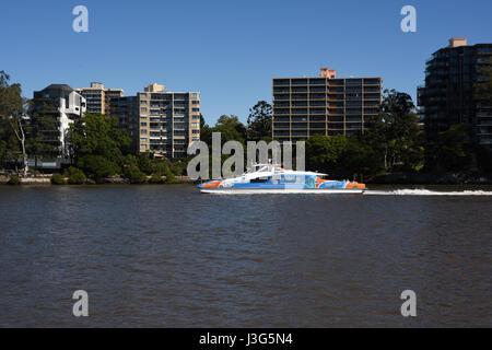 Brisbane, Australia: CityCat ferry on Brisbane River at St Lucia - Stock Photo