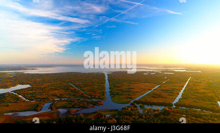 Aerial view of the Grand-lieu lake in autumn, near Nantes, Loire Atlantique, France - Stock Photo