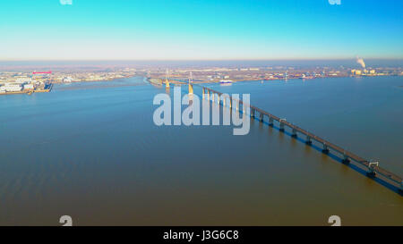 Aerial view of Saint Nazaire bridge, Loire Atlantique, France - Stock Photo