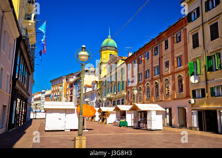 Korzo square in city of Rijeka, clock tower and colorful architecture, Kvarner bay, Croatia - Stock Photo