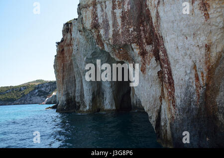 Natural rock arches at blue caves in island of Zakynthos, Greece - Stock Photo