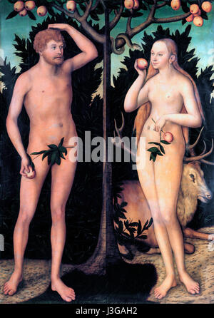 Adam and Eve - Lucas Cranach the Younger - circa 1540 - Stock Photo