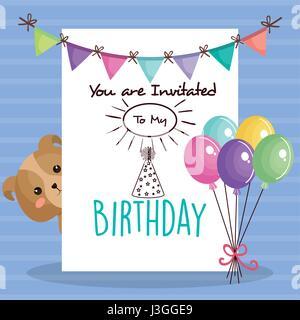 happy birthday card with tender animal - Stock Photo