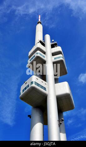 PRAGUE, CZECH REPUBLIC - MAY 03, 2017: Zizkov Television Tower with observatory. The Tower is highest building in - Stock Photo