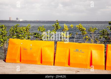 Miami Beach Florida Biscayne Bay barricade orange end of road water barrier - Stock Photo
