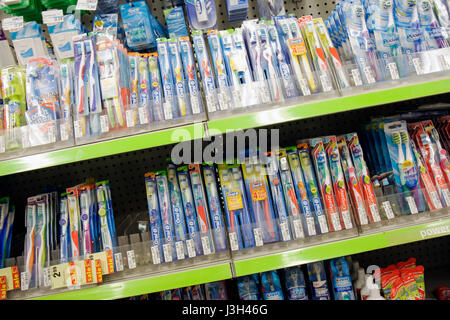 Miami Beach Florida 5th Fifth Street CVS Pharmacy shelves product display packaging marketing competition drug store - Stock Photo