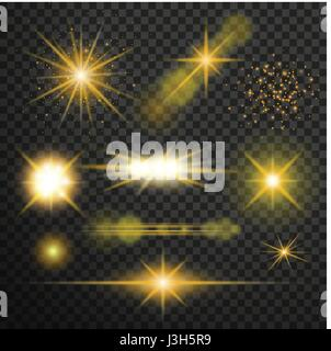 Transparent glow light effect. Star burst with sparkles.lens flares star lights and glow - Stock Photo