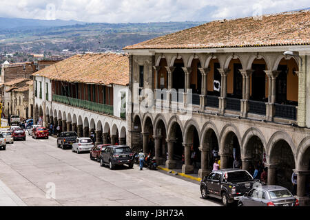 Plaza de Armas of Ayacucho city, Peru. - Stock Photo