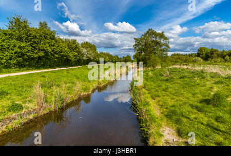 A stunning view of the countryside at Paddington Meadows in Warrington - Stock Photo