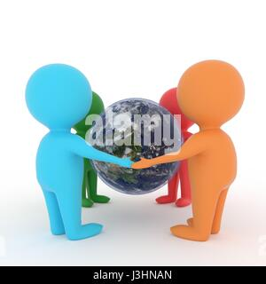 small people holding hands around earth planet on isolated white background in 3D rendering - Stock Photo