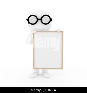 small people with photo frame on isolated white background in 3D rendering - Stock Photo