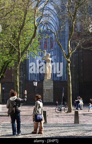 Netherlands, Utrecht, memorial in front of the St. Martin's Cathedral or Dom Church - Stock Photo