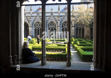 Europe, the Netherlands, Utrecht, the cloister of the St. Martin's Cathedral or Dom Church - Stock Photo