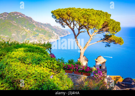 Ravello, view of the Amalfi Coast from a Villa Rufolo Terrace - Stock Photo