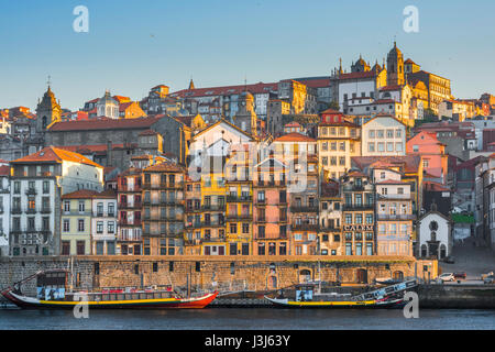 Ribeira Porto Portugal, view of the historic old town Ribeira district in the centre of Porto at sunrise, Portugal. - Stock Photo