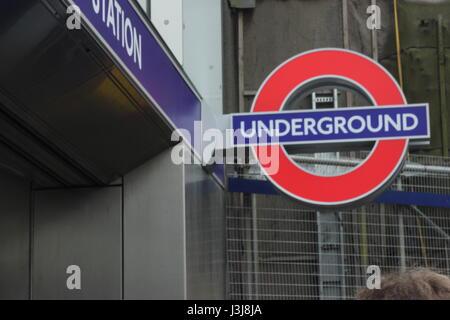Classic London Underground Sign - Stock Photo