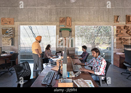 Interior studio view with staff. The Pool Studio of Matharoo Associates, Ahmedabad, India. Architect: Matharoo Associates, - Stock Photo