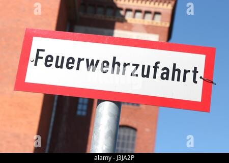 German road sign: fire rescue path - Stock Photo