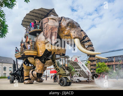 France, Pays de la Loire, Nantes, Machines of the Isle of Nantes, The Grand Elephant is the most popular attraction - Stock Photo