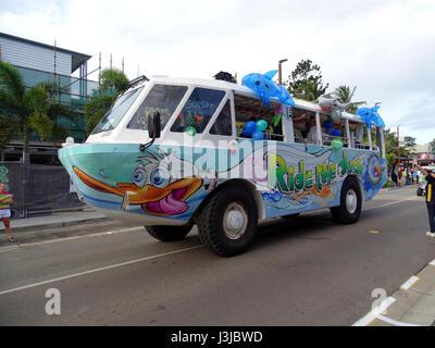 Aqua Duck participating in a parade - Stock Photo