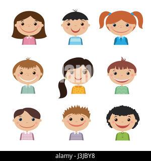 Set of smiling children .Set avatars for your design - Stock Photo