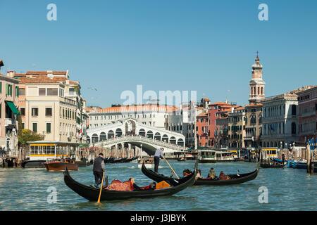 Gondolas on Grand Canal in Venice. - Stock Photo