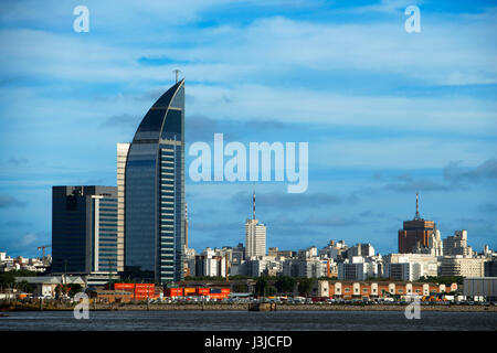 Montevideo waterfront and Telecommunications Tower or Antel Tower is a 157 meter tall building in Montevideo, Uruguay - Stock Photo