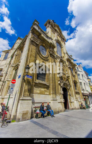 BRUSSELS, BELGIUM - 11 AUGUST, 2015: Outside spectacular facade Our lady of assistance church, shot from the street. - Stock Photo