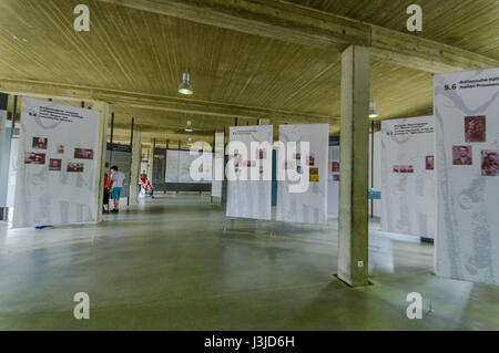 Dachau, Germany - July 30, 2015: Inside museum building at concentration camp. - Stock Photo