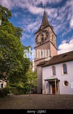 Saint Peter's Church in Zurich, Switzerland - Stock Photo