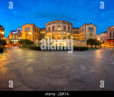 OSLO, NORWAY - JUNE 12, 2014: Parliament of Norway in Oslo. Located at 22 Karl Johans gate, it was taken into use - Stock Photo